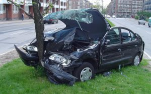 A car and an inanimate object crash