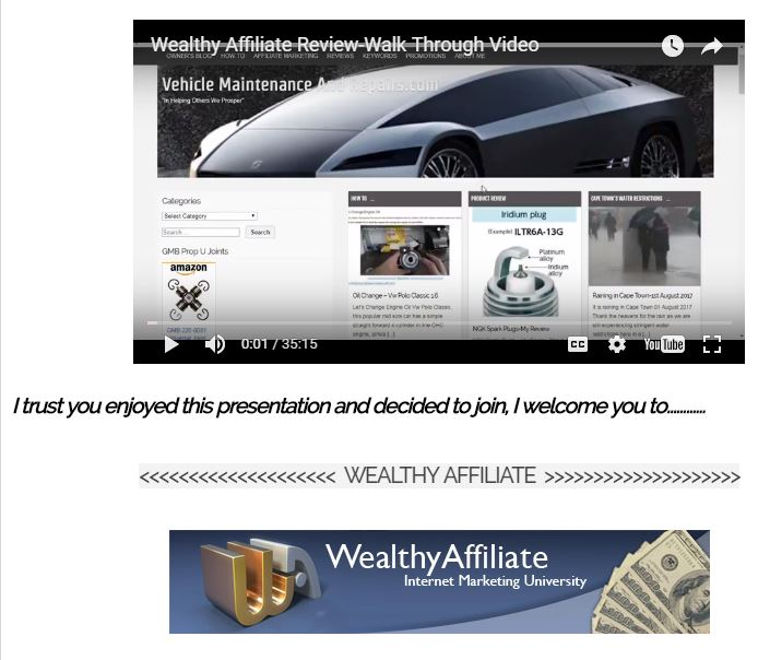 My Wealthy Affiliate Review-A Walkthrough Video